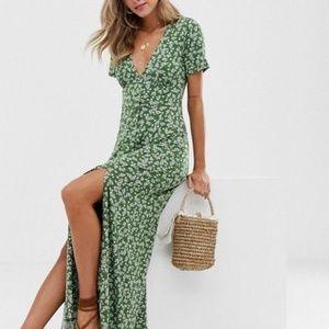 Asos Design Button Through Maxi Tea Dress w Splits